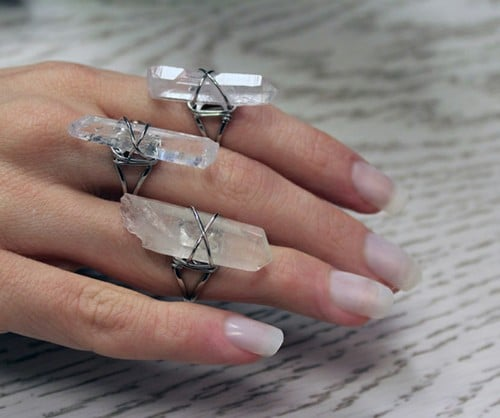 clear raw quartz ring 2