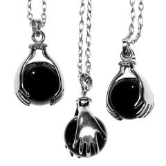 Black Onyx Crystal ball Necklace