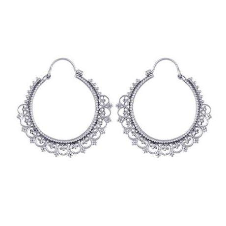 Mendi-Hoop-Boho-Silver-Earrings