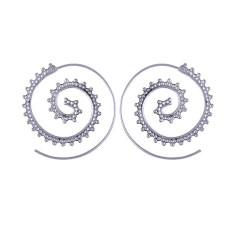 Spiral 925 Silver Loop Earrings