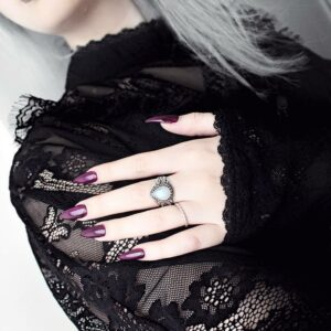 instagram influencer tavujesus wears gothic black lace and hellaholics sterling silver moonstone ring