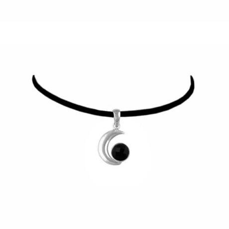 Onyx-sterling-silver-moon-choker