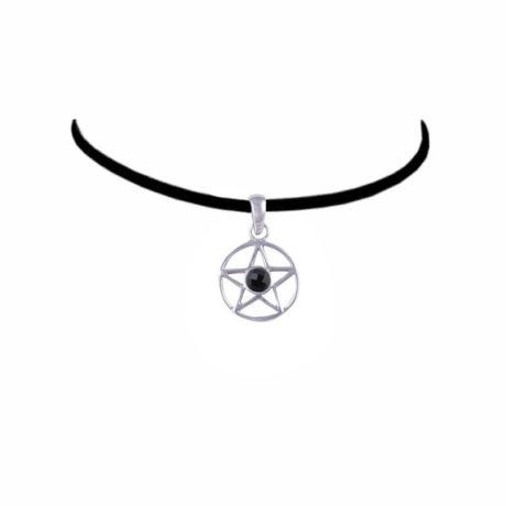 onyx-sterling-silver-pentagram-choker