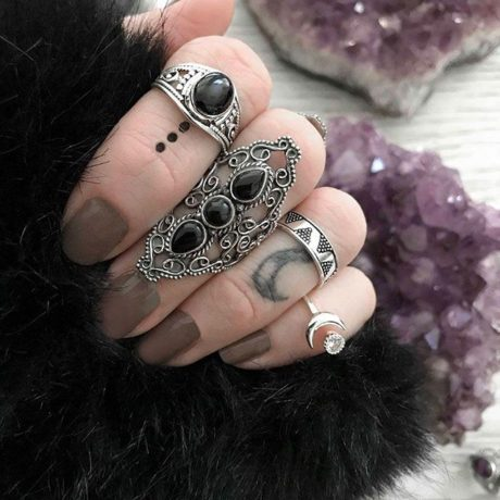 aurelia sterling silver onyx ring combo