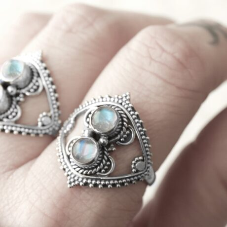 sterling silver ring with 2 moonstone crystal stones.