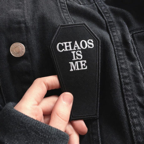chaos is me coffin patch by life club uk hand