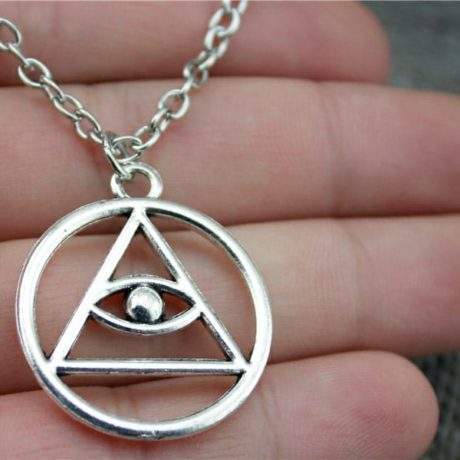 Eternal eye necklace close up in hand