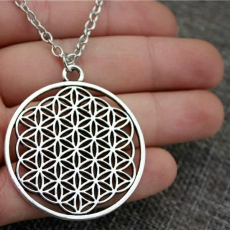Sacred geometry flower of life necklace close up
