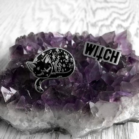Mystical cat pin and witch pin by punky pins, sold by Hellaholics