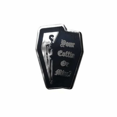 your coffin or mine coffin shaped pin by Mysticum luna