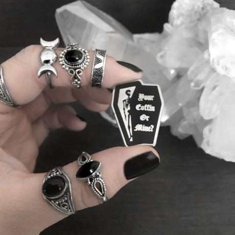 Your coffin our mine pin by Mysticum Luna. Sold by Hellaholics.