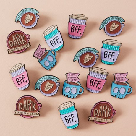 Pastel colour pins from punky pins for all coffee lovers.