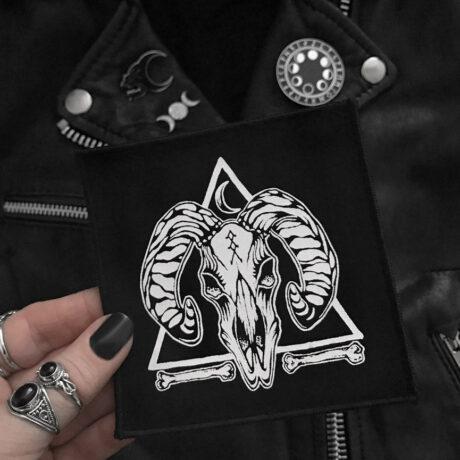 Skull and Bones Ram skull patch with occult symbols