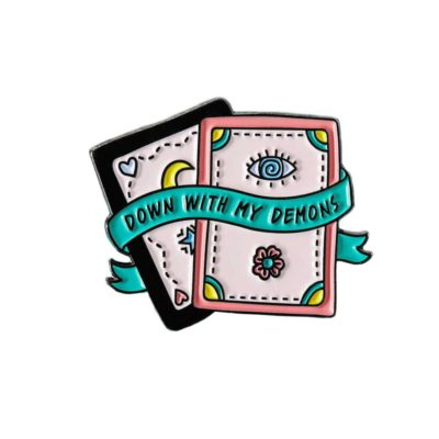 Down with my demons card shaped pastell coloured enamel pin by punky pins.