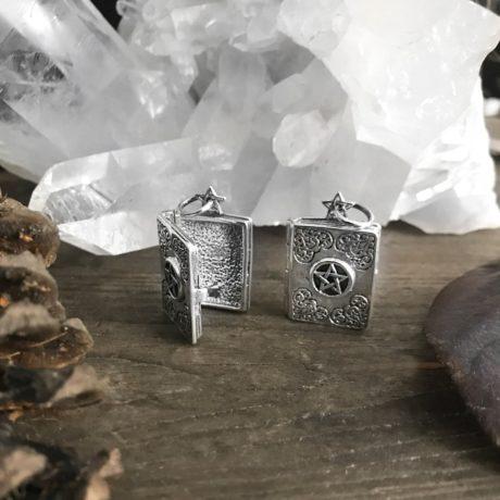 Sterling silver Grimoire pentagram Book of Shadows locket pendant