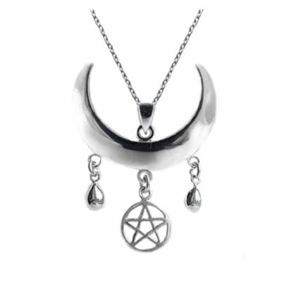 moon shaped necklace with a pentagram in sterling silver