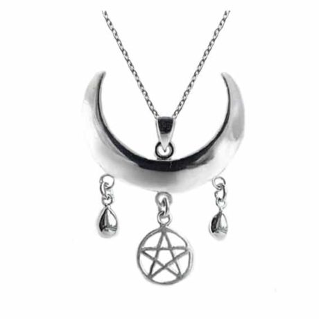 Sterling silver wiccan crescent moon necklace with a pentagram