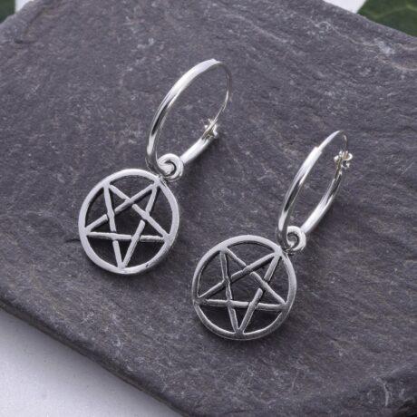 sterling-silver-pentagram-hoop-sleepers-earrings
