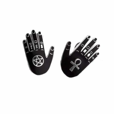 occult black hand pins by punky pins
