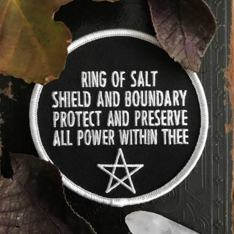 Black and white ring of salt patch, shield and boundary, protect and preserve, all power within thee. Protective pagan patch by Pretty In Punk.