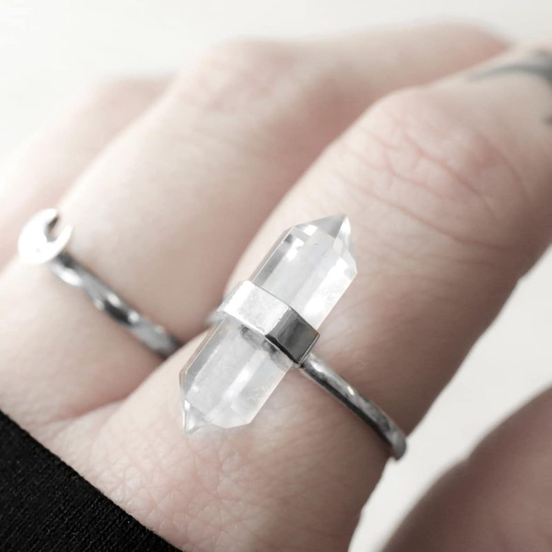 large clear crystal quartz ring in sterling silver