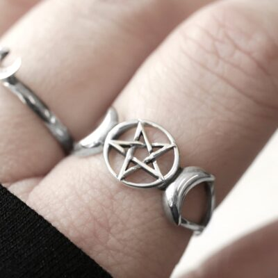 triple moon goddess pentagram silver ring