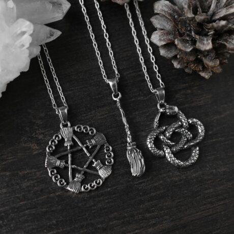 besom-pentagram-entwine-snake-pendant-necklace-hellaholics