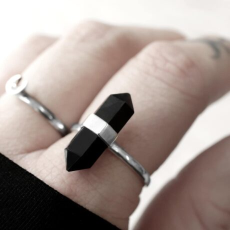 Hex onyx crystal stone ring in sterling silver.