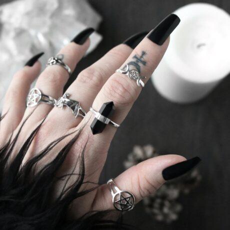 onyx-crystal-pentagram-triple-moon-sterling-silver-rings-hellaholics