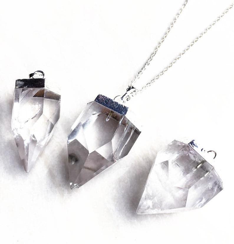clear quartz necklace master healer necklace Clear quartz serpant necklace