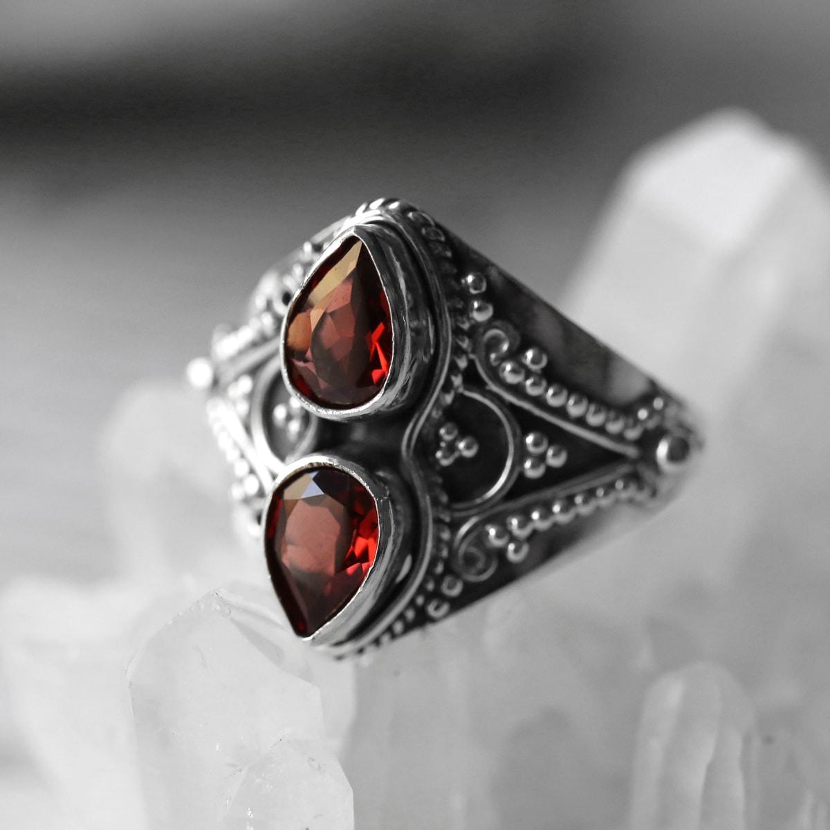 Gathika Garnet Cut Stone Silver Ring
