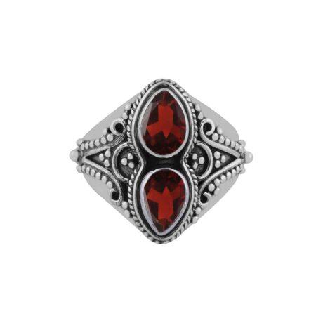 gathika-garnet-cutstone-silver-ring-front-hellaholics