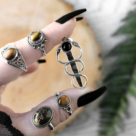 healing-snake-onyx-silver-pendant-tiger-eye-silver-rings-hellaholics