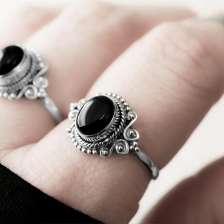 Aditi sterling silver ring with an onyx crystal stone.