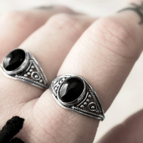 Aelia sterling silver ring with a round onyx crystal stone.