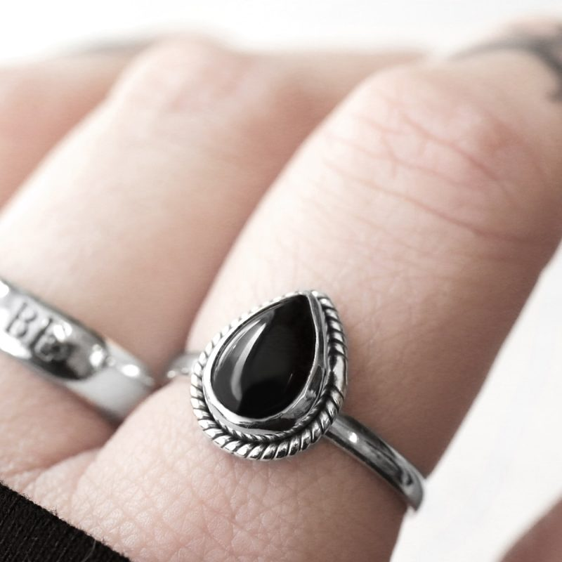 Amara sterling silver ring with onyx crystal.