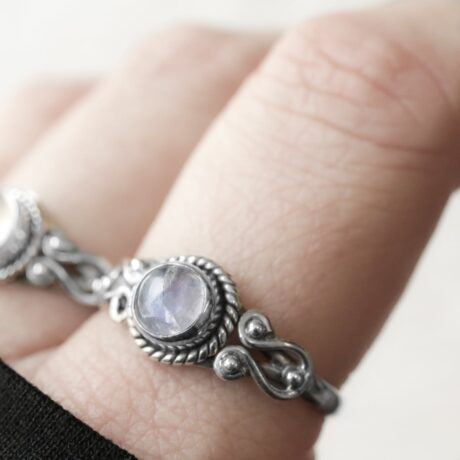 Moonstone crystal stone ring in sterling silver.