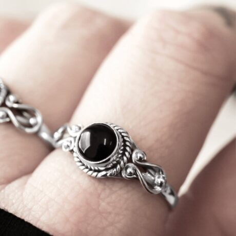 Petite sterling silver ring with an onyx crystal stone.
