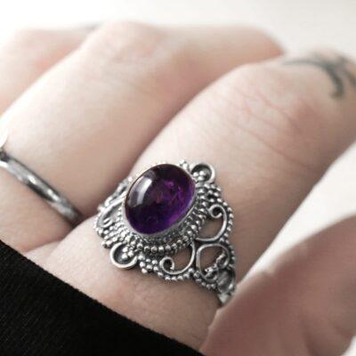 Bohemian purple amethyst crystal silver ring