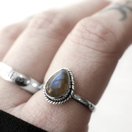 Drop shaped labradorite crystal stone ring in sterling silver.