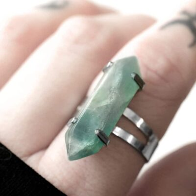 Fluorite crystal stone ring