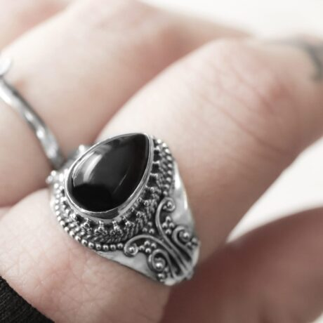 Nakti onyx sterling silver ring.
