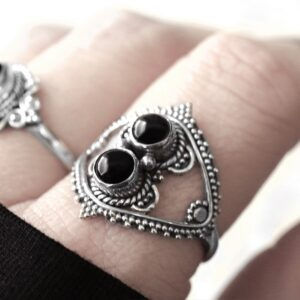 Nalani silver onyx ring.