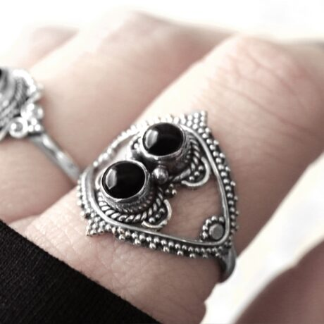 Bohemian sterling silver ring with 2 round onyx crystal stones.