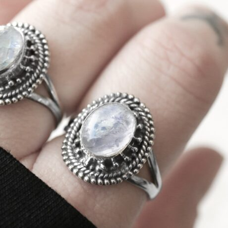 Beautiful sterling silver ring with moonstone crystal stone.