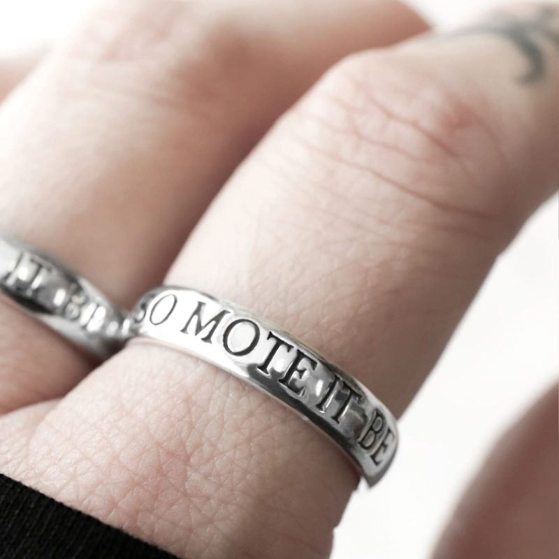 """engraved ring with the text """"so mote it be"""" in sterling silver."""