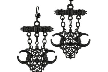 Gothic earrings decorated with small l black polished gems and detailed openwork ornaments.