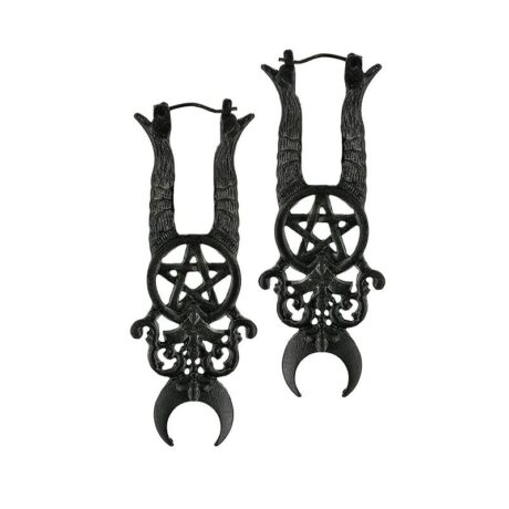Witchy black earrings with occult symbols for the wicked witch from Restyle.