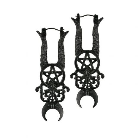 Witchy pitch black earrings with old-fashioned aged texture.