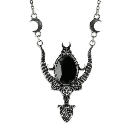 "Complete your witchy outfit with this gothic silver coloured ""Mystica silver necklace"" from Restyle."
